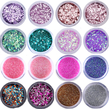 Nail Glitter Set Hexagon Lentejuelas UV Gel Polish Polish Mixed Color Nail Art Nail Art Consejos de manicura DIY Paillette