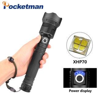 Super Helderheid XHP70 LED Zaklamp Telescopische zoom 3 Modes USB opladen met Power display gebruik 18650/26650 batterij 5000LM