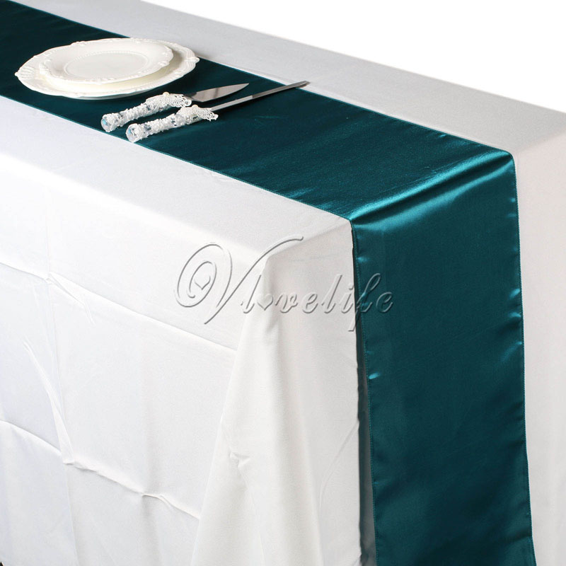 Free Shipping 10pcs Teal Blue Satin Table Runners 12 X 108 Wedding Party Banquet Decorations 30cm 275cm In From Home Garden On