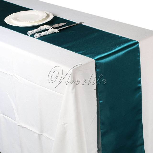 Free Shipping 10pcs Teal Blue Satin Table Runners 12 X 108 Wedding Party