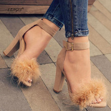 LZXGSJ 2018 NEW Euramerican Fashion  Sandals Ankel Wrap Super High Square Heels Open-toed Casual Buckle Strap Faux Fur