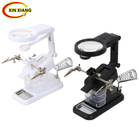10 LED 3X 4.5X Table Magnifier LED 25X Magnifying Glass Illuminated Magnifier Soldering Welding SMD Circuit Repair Tool Loupe