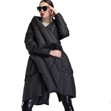 Winter new stylish womens down jackets Irregular cloak style girls large lapel thicken loose coat EF12008