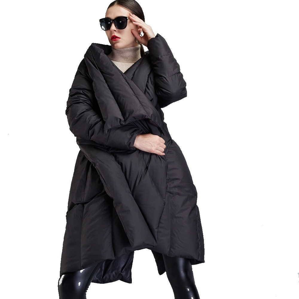 Winter new stylish women's   down   jackets Irregular cloak style   down   jackets girls large lapel thicken loose   down     coat   EF12008