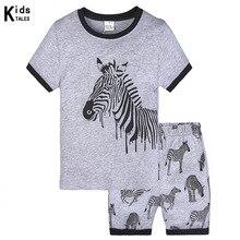 Купить с кэшбэком 2019 Summer New Cartoon Animal Print Baby Toddlers Kids Girls Nightwear Pajamas Set Sleepwear Homewear Clothing Suit 2-7Y