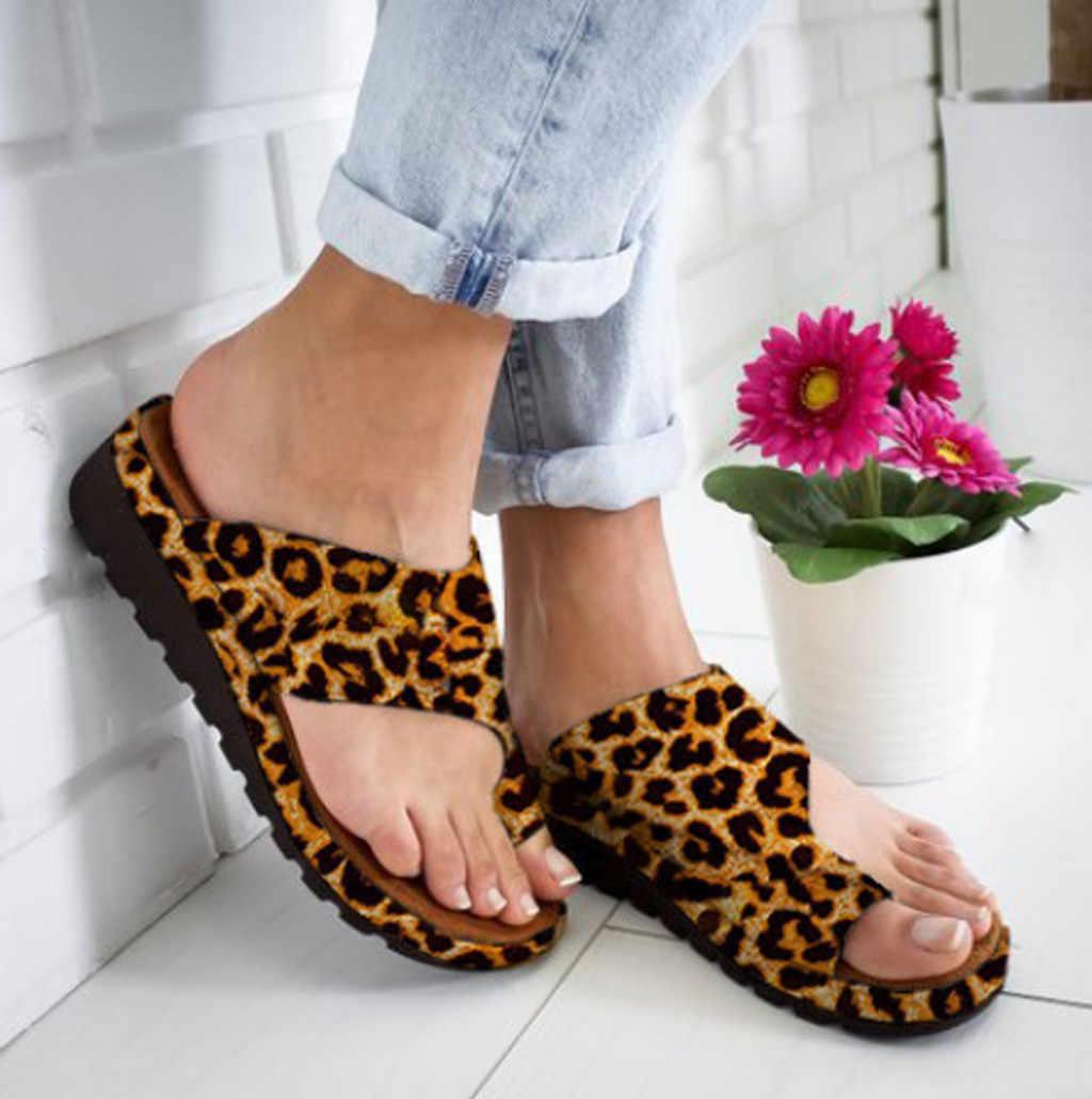 ผู้หญิง PU หนังรองเท้า Comfy แบนรองเท้าสุภาพสตรีสบายๆเท้าใหญ่แก้ไข Sandal Orthopedic Bunion Corrector