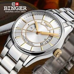 Szwajcaria zegarek męski luksusowy zegar markowy BINGER świetlny ruch MIYOTA automatyczne self-wiatr pełne ze stali nierdzewnej B5007-7