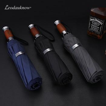 Genuine Brand Large Folding Umbrella Rain 1.2 Meters Business Men Automatic Umbrellas Windproof Male Parasol Dark Blue And Black 1