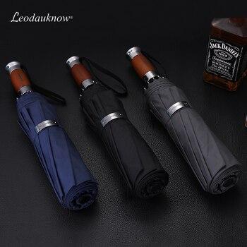Genuine Brand Large Folding Umbrella Rain 1.2 Meters Business Men Automatic Umbrellas Windproof Male Parasol Dark Blue And Black