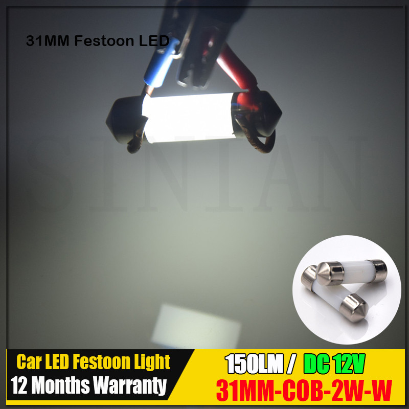 2Pcs Smoke Design COB 2W Led C5W SV8.5 Car Interior Plastic Lens Festoon Dome Reading Light Bulb Lamps White 31mm 36mm 39mm 41mm