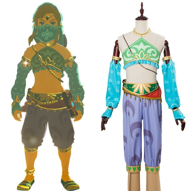 34de19e76 The Legend of Zelda Cosplay Breath of the Wild Link Cosplay Costume Outfit  Adult Women Gerudo Full Sets Halloween Custom Made