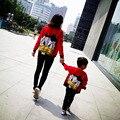 Madre Hijo Hija niños Trajes A Juego de Ropa de la Familia mirada de Navidad Suéteres Mamá Bebé de la Historieta Camisetas de Manga Larga