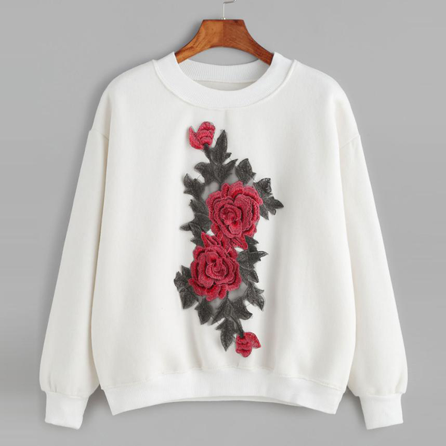 feitong Embroidery Applique Tops White Pullover Sweatshirt 2017 Newest Special Design Comfortable and soft Women Fashion