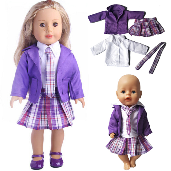 American girl doll School clothes white shirt strap dress set for 18 45cm doll suit set for 43cm new born zapf baby dolls suit american girl doll clothes for 18 inch dolls beautiful toy dresses outfit set fashion dolls clothes doll accessories