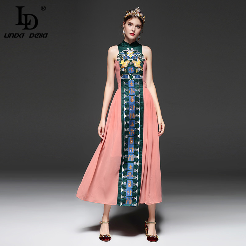 LD LINDA DELLA Vintage Chinese Style Slim Long Dress Summer New Fashion Embroidery Ankle Length Dress
