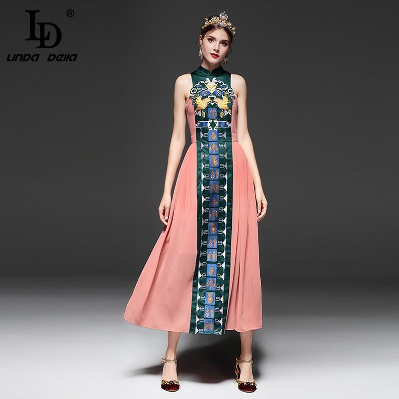 LD LINDA DELLA Vintage Style chinois Slim longue robe d'été nouvelle mode broderie cheville longueur robe pour les femmes-in Robes from Mode Femme et Accessoires    1