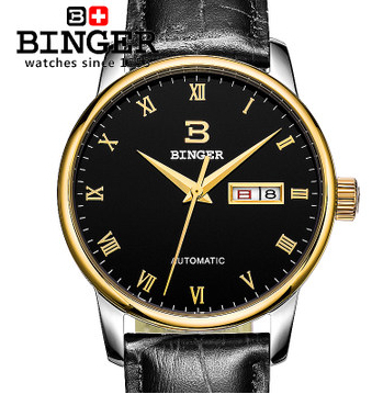 2015 Hot Sale Black Binger Genuine Cow Leather Circle Roman Gold Watch Mens TOP Quality Dual Date Wrist Watches Free Shipping