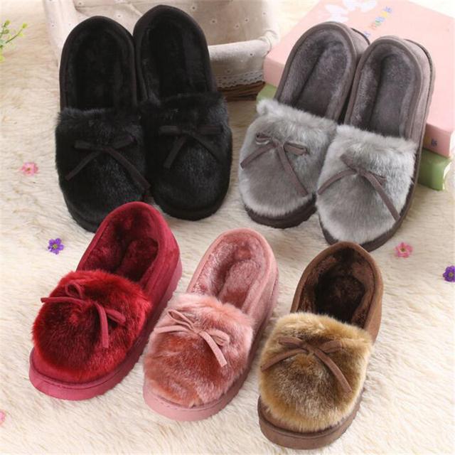 NEWORANGE 2017 Autumn Winter Women Ballet Flats Lovely Bow Warm Fur Comfort Cotton Shoes Woman Loafers Slip On Size 40 WFS252