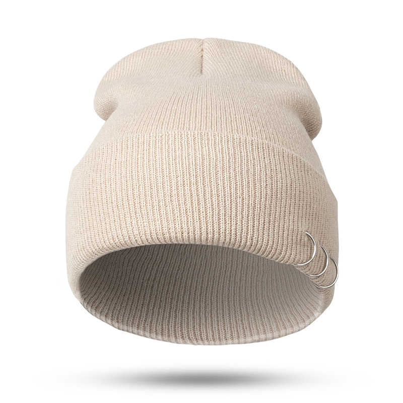 Men Women Harajuku Style Iron Ring Cap Autumn Winter Warm Wool Knitted Hat Fashion Simple Outdoor Accessories