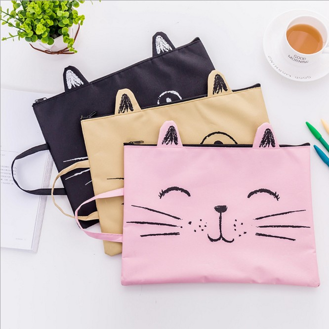 1PC Kawaii Kitty Cat Cute ZiP Fabric File Folder Document Notebook Organizer Handbag Students Office Stationery