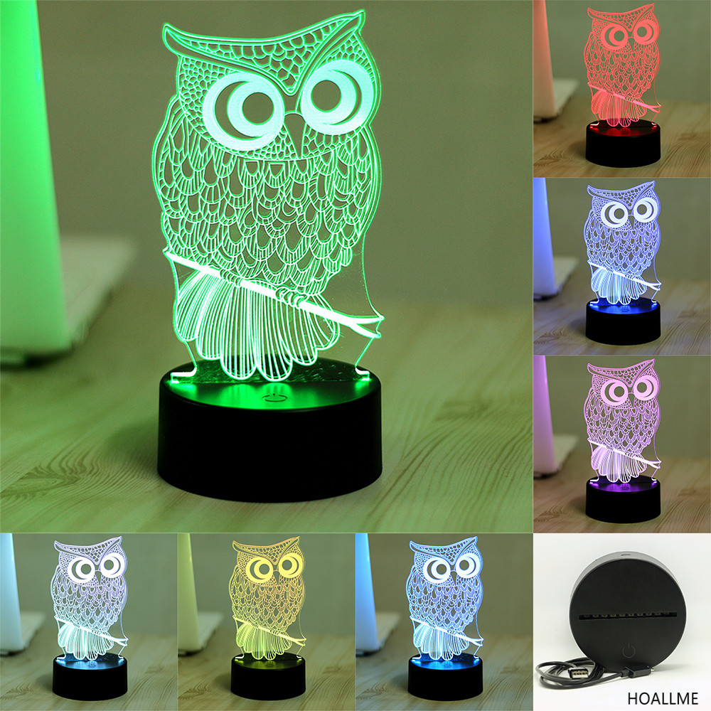 Night owl reading lamps - 7 Color Owl Lamp 3d Visual Led Night Lights For Kids Touch Usb Table Lampara Lampe