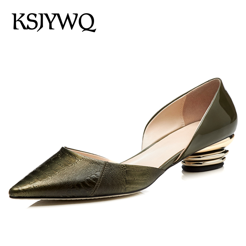 KSJYWQ Green Leather Women Pumps 4 CM Chunky Heels Sexy Pointed-toe Party Shoes Summer Slip-on Woman Sandals Box Packing T5-30 ksjywq plus size women red pumps slip on summer dress shoes 10 cm high heels sexy pointed toe woman stilettos box packing 1259 1