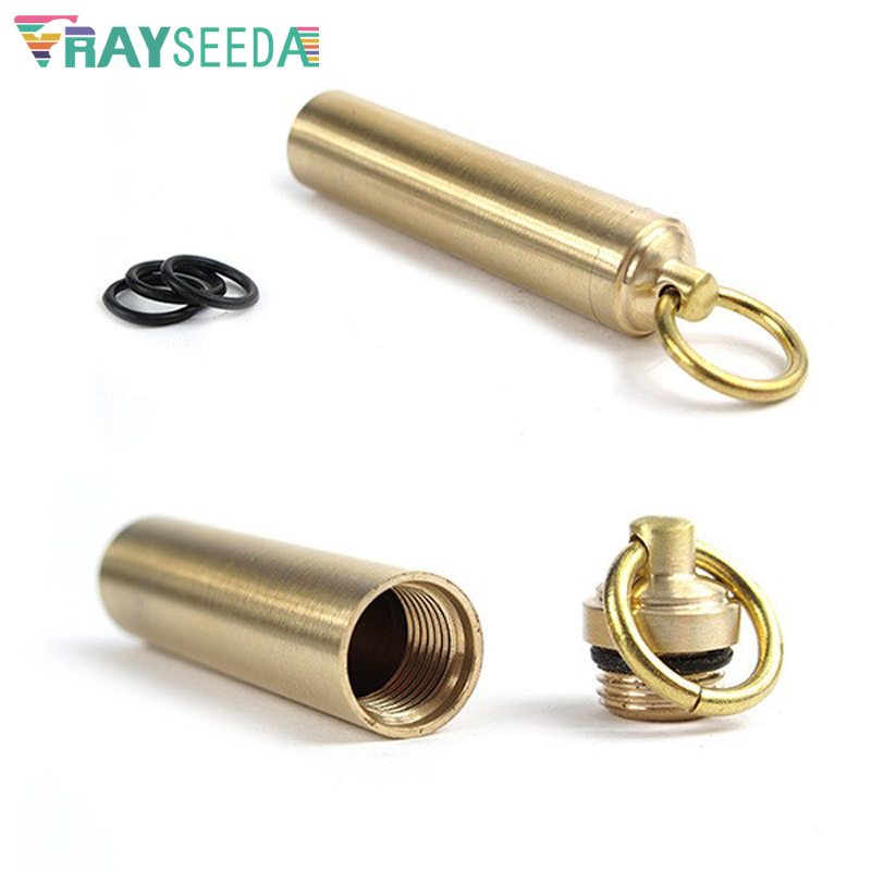 United Rayseeda Brass Outdoor Emergency Water Proof Pill Bottle Portable Keychain Camping Capsule Seal Bottles Small Gallipot Cartridge To Rank First Among Similar Products Camping & Hiking