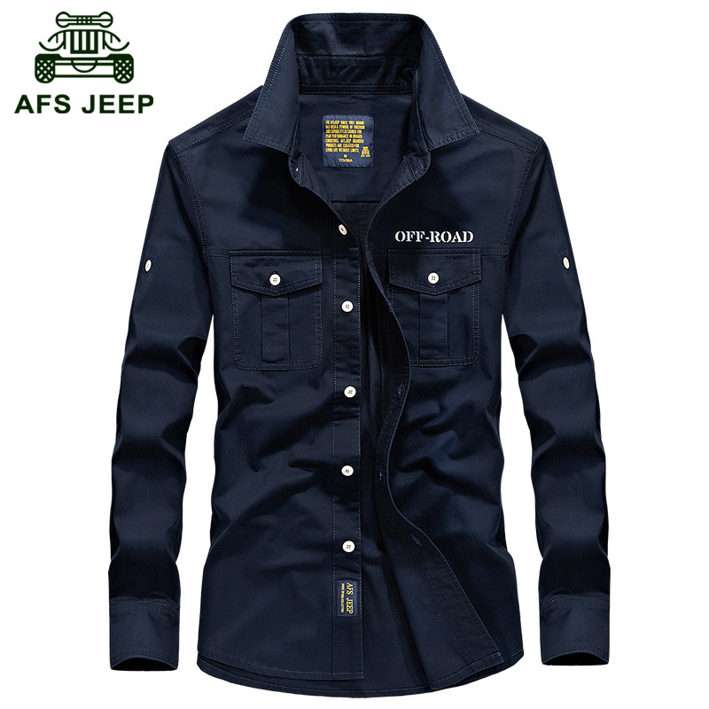 AFS JEEP 2016 Autumn men's casual brand shirt man spring high quality 100% pure cotton long sleeve shirts male khaki tops S-4XL