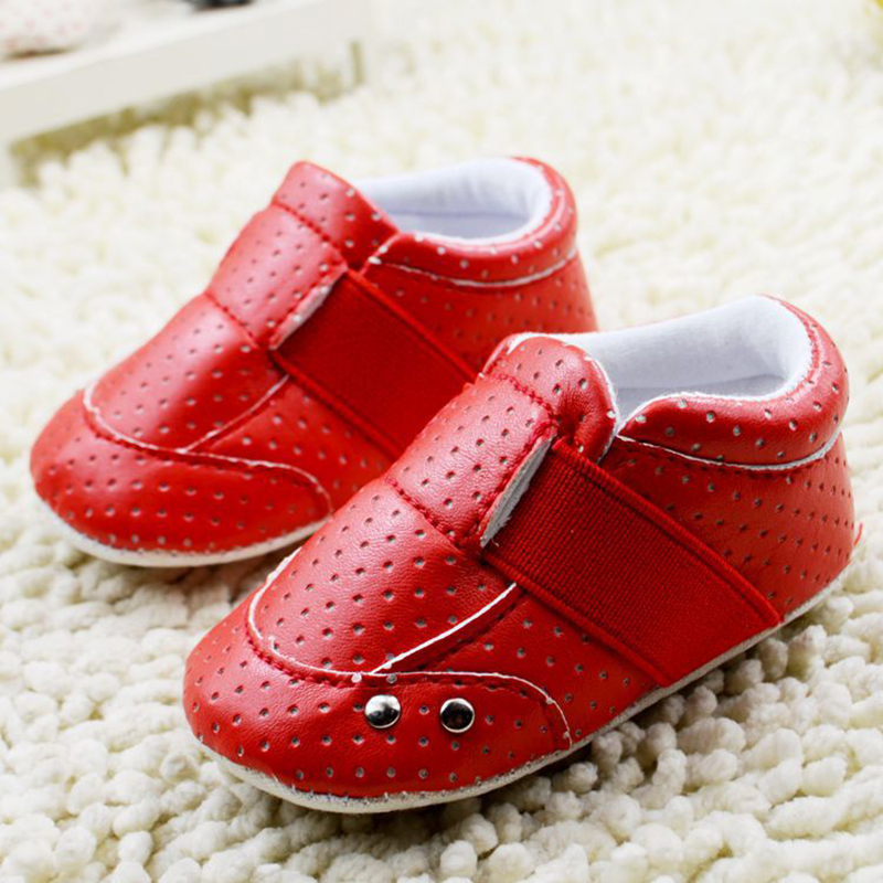 Fashion Red Breathable Leather baby girl shoes Anti-slip Soft Bottom First walker shoes for baby girl 0-18 months Y1