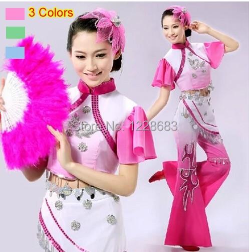 Adulto Mulheres Plus Size Rosa Azul Verde Antiga Tradicional Chinesa Dança Folclórica Roupas Desempenho/Chinês Trajes de Dança Do Leque