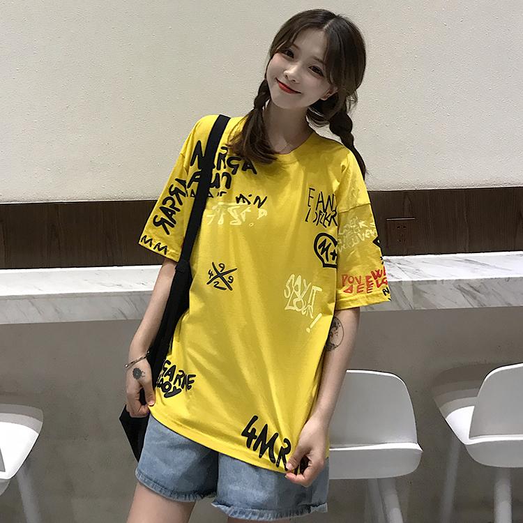 T-shirts Women Graffiti BF European Style Loose Harajuku Hip Hop Streetwear Chic Couple Clothes Unisex Daily Tshirt Womens Soft 87