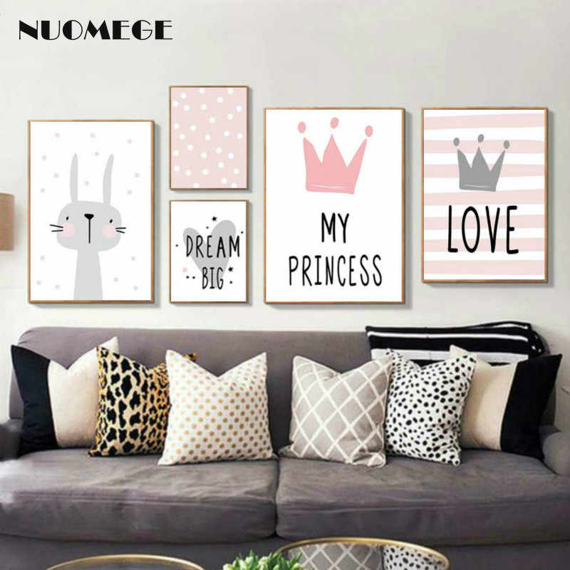 Nursery Pink Cartoon Poster Girl Room Posters and Prints Rabbit Crown Baby Room Wall Picture for Kids Room Canvas Art