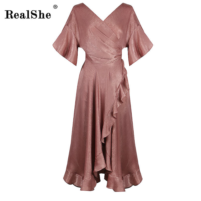 RealShe Women Summer Dress Elegant V Neck Flare Sleeve Ruffles Casual Party Dresses Sexy Waistband Long Maxi Dress