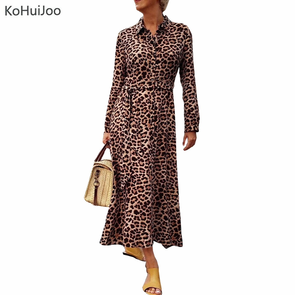 KoHuiJoo 2018 Women Long Leopard Dress Autumn Long Sleeve Vintage Print Ankle Length Dress with Sashes Ladies Chic Dresses