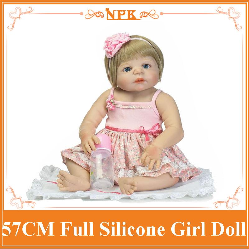 Fairlady Like 22''Can Enter Into Water Whole Silicone Reborn Baby Doll With Pink Rose Hair Band New Arrival Bebe Reborn Realista