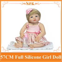 Fairlady Like 57 Can Enter Into Water Whole Silicone Reborn Baby Doll With Pink Rose Hair