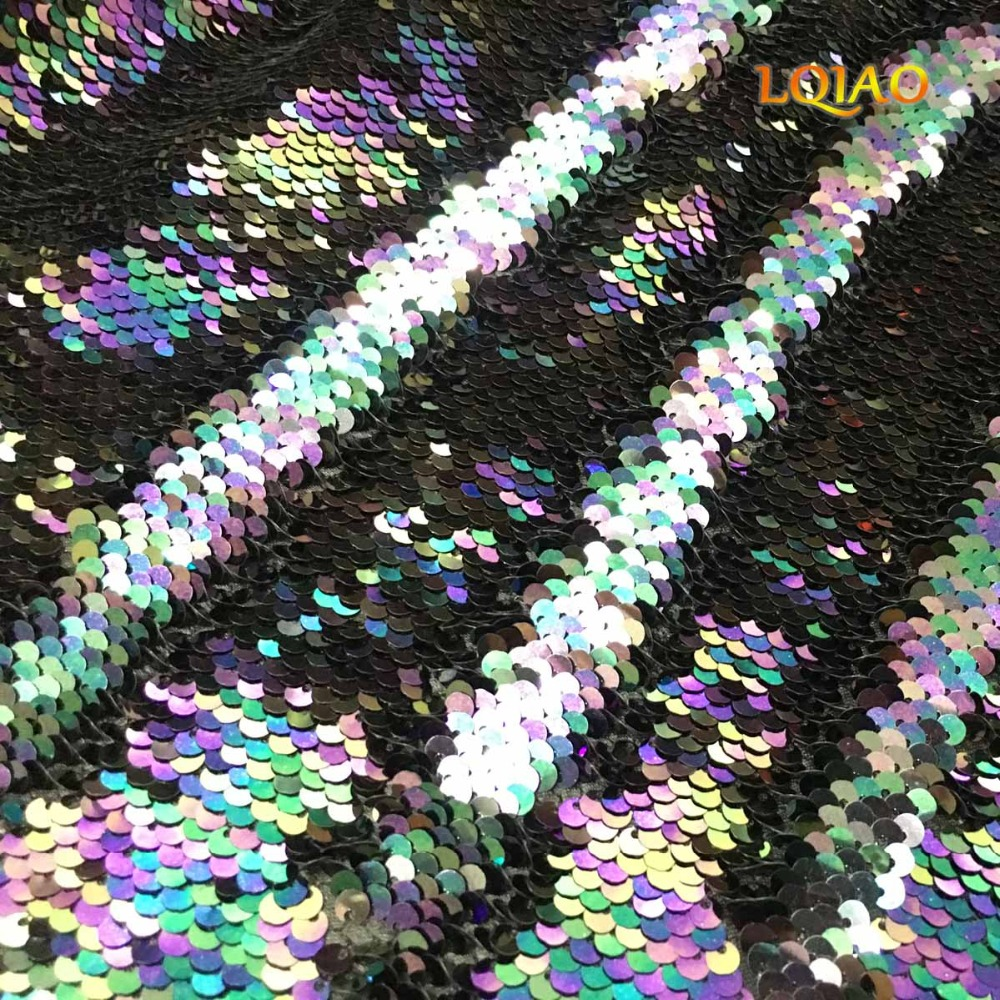 5 Yards High quality Sequin Fabric Mermaid Reversible Sequin fabric Rainbow African Sequin fabric for Dresses