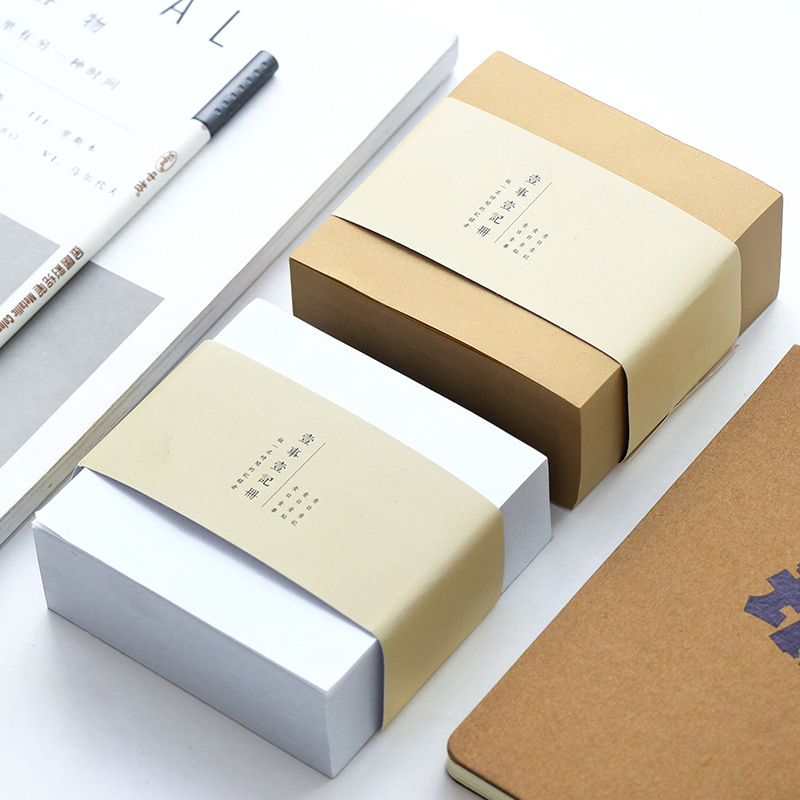 1pcs 400 Sheets Creative Office Creative Cowhide Ivory white Box Shape Memo Pad Sticky Notes Bookmarks school supplies BLT31 200 sheets 2 boxes 2 sets vintage kraft paper cards notes filofax memo pads office supplies school office stationery papelaria