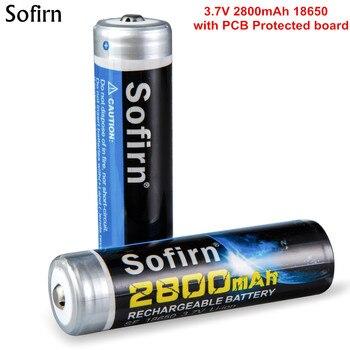Sofirn супер мощность 2800mA 18650 батарея с печатной платой кнопка безопасности Топ li-ion 3,7 V Аккумуляторы для 18650 фонарик головной убор
