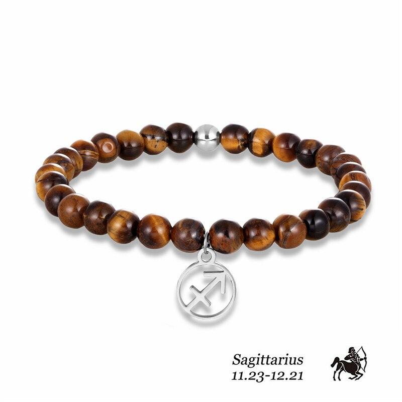 12 Zodiac Tiger Eyes Stone Stainless Steel Bracelet