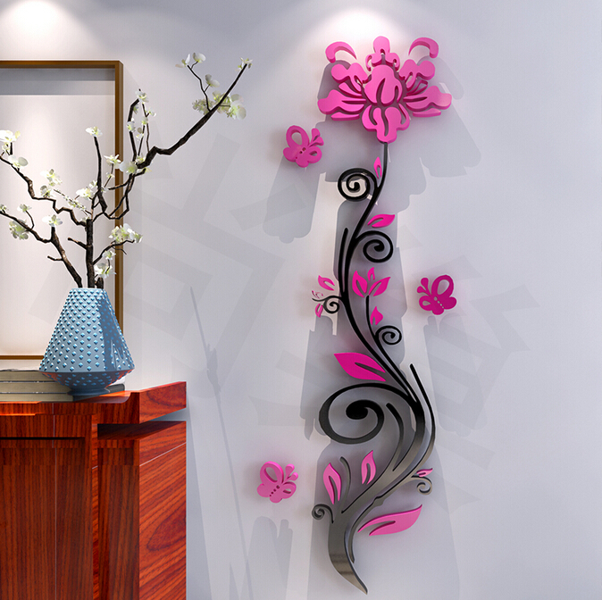 Buy 2015 roses acrylic crystal wall for Room decor 5d stickers
