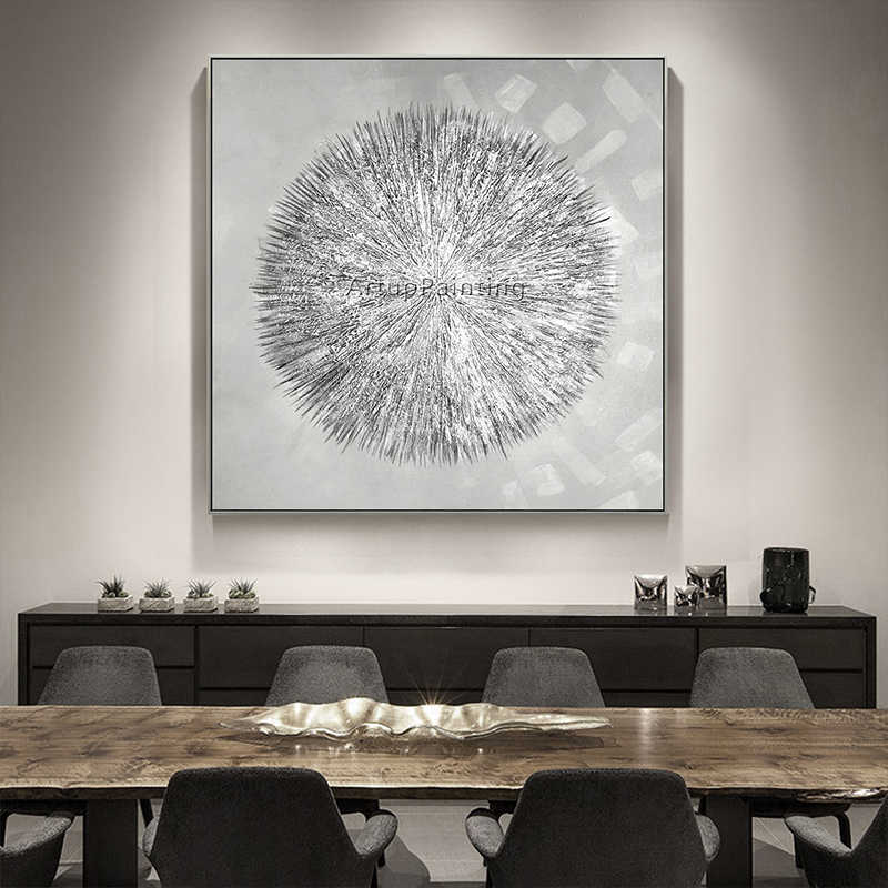 Silvery Acrylic Canvas Oil Painting Nordic Style Quadro Caudro Decoration Modern Abstract Texture Wall Art for Living Room