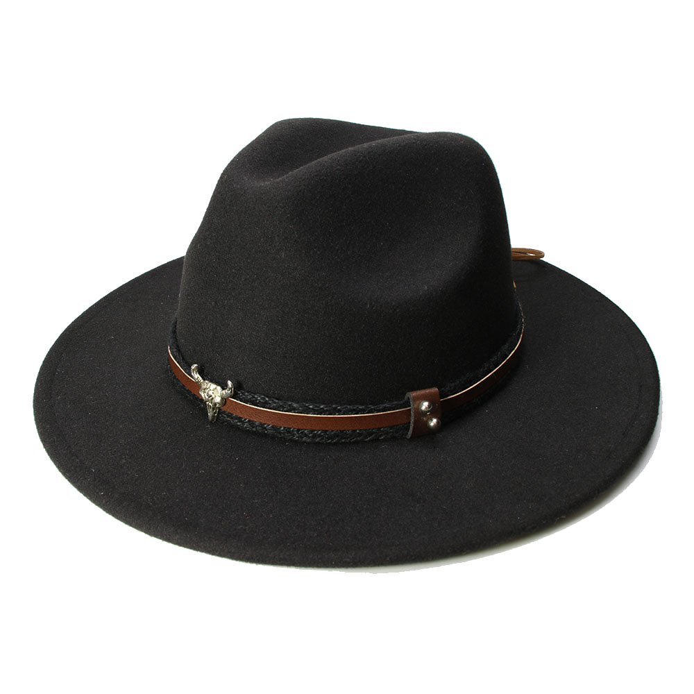 4aceec3df1a LUCKYLIANJI Retro Kid Child Vintage 100% Wool Wide Brim Cap Fedora Panama  Jazz Bowler Hat Bull Head Leather Band (54cm Adjust)-in Fedoras from Men s  ...