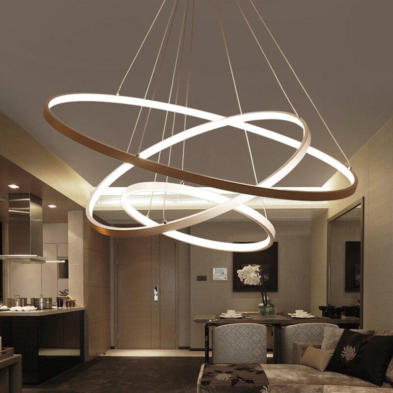 60 см 80 см 100 см современные подвесные светильники для гостиной столовой круглые кольца акриловый алюминиевый корпус светодиодный потолочны
