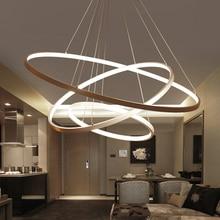 60 ซม.80 ซม.100 ซม.จี้โมเดิร์นสำหรับห้องนั่งเล่นห้องรับประทานอาหารวงกลมแหวนอะคริลิคอลูมิเนียม LED โคมไฟเพดานโคมไฟ