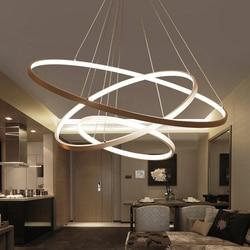 60 CM 80 CM 100 CM Moderne Anhänger Lichter Für Wohnzimmer Esszimmer Kreis Ringe Acryl Aluminium Körper LED decke Lampe Leuchten