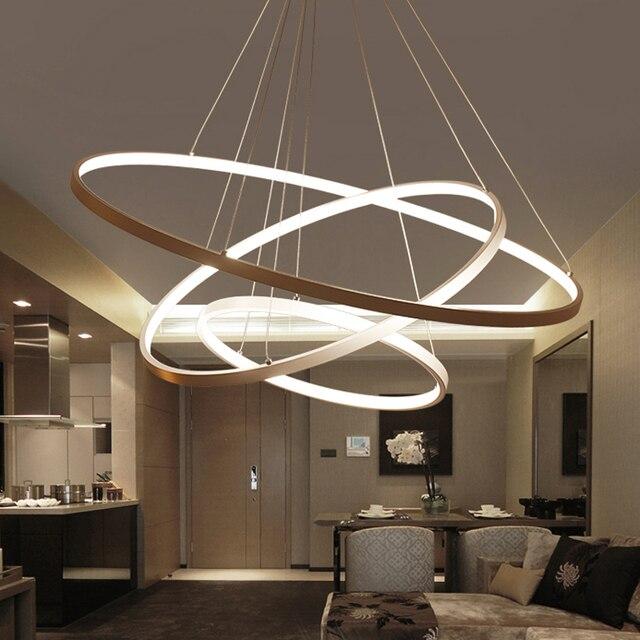 60 Cm 80 Cm 100 Cm Moderne Hanger Verlichting Voor Woonkamer Eetkamer Cirkel Ringen Acryl Aluminium Body Led plafond Lamp Armaturen