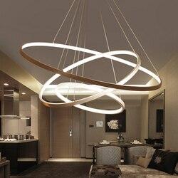 60CM 80CM 100CM Luces colgantes modernas para la sala de estar comedor anillos circulares cuerpo de aluminio acrílico LED lámpara de techo accesorios