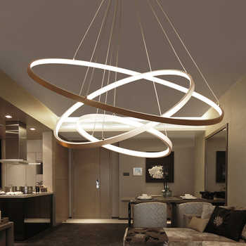 60CM 80CM 100CM moderne pendentif lumières pour salon salle à manger cercle anneaux acrylique en aluminium corps LED plafonniers