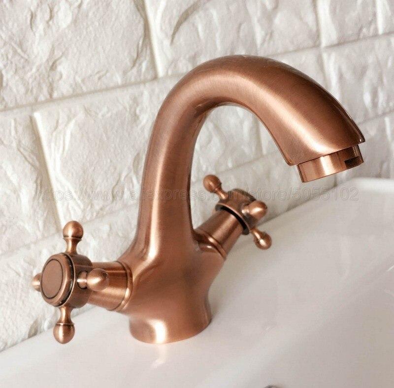 Antique rouge cuivre Double poignée contrôle Antique robinet cuisine salle de bains bain mélangeur chaud et froid robinet znf390
